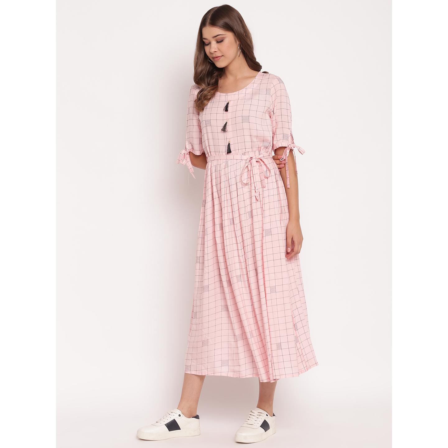 Elegant Pink Colored Party Wear Check Print Ankle Length Rayon Kurti