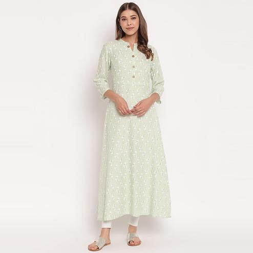 Radiant Light Green Colored Party Wear Floral Print Ankle Length Rayon Kurti