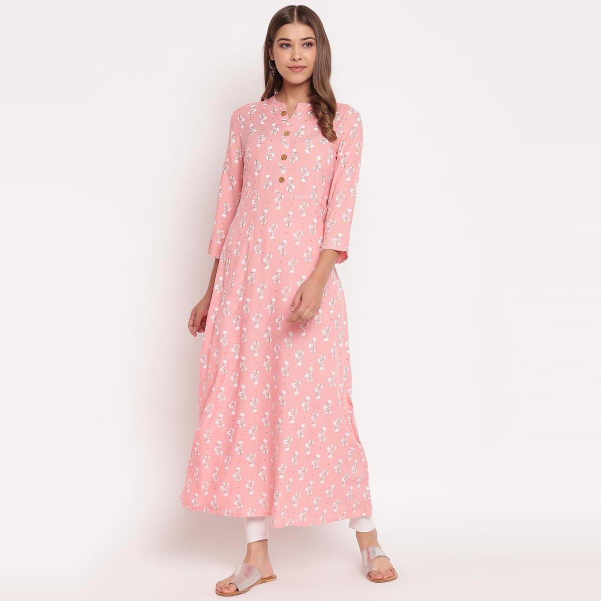 Stylum Pleasant Pink Colored Party Wear Floral Print Ankle Length Rayon Kurti