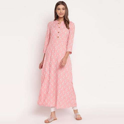 Pleasant Pink Colored Party Wear Floral Print Ankle Length Rayon Kurti