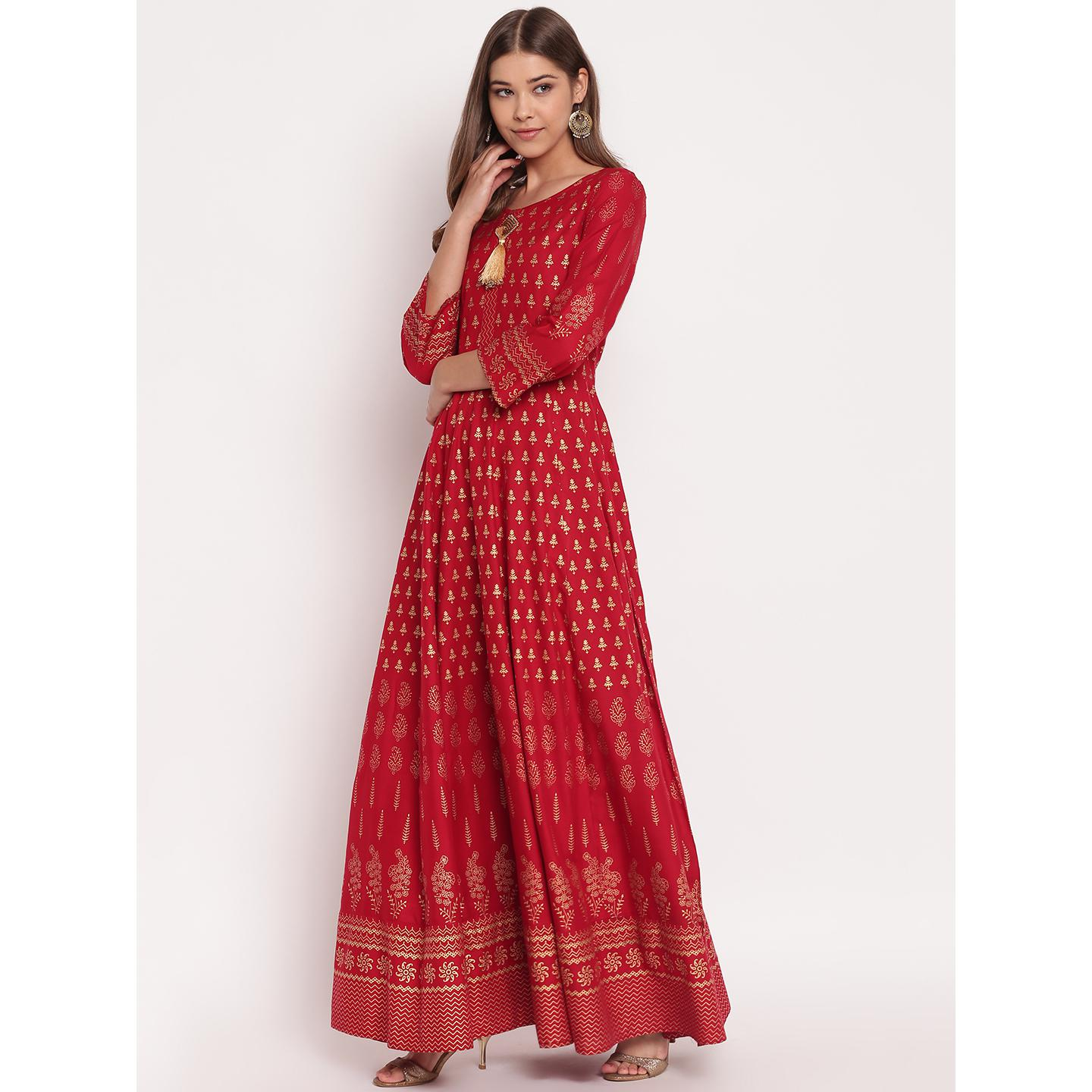 Opulent Maroon Colored Party Wear Floral Print Long Rayon Kurti