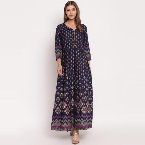 Energetic Navy Blue Colored Party Wear Printed Ankle Length Rayon Kurti