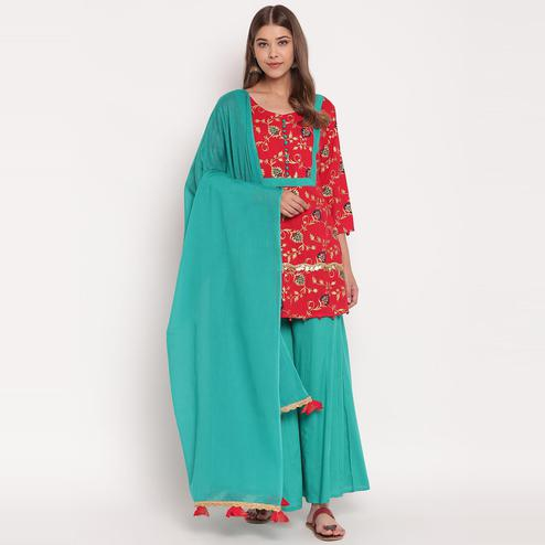 Groovy Red-Rama Green Colored Party Wear Floral Printed Above Knee Length rayon Kurti-Palazzo Set With Dupatta