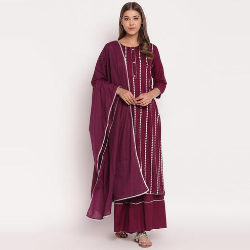 Intricate Purple Colored Party Wear Embellished Below Knee Length rayon Kurti-Palazzo Set With Dupatta