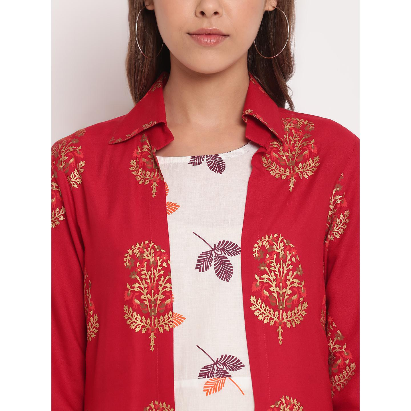 Jazzy White-Red Colored Party Wear Floral Printed Ankle Length Rayon-Cotton Kurti With jacket