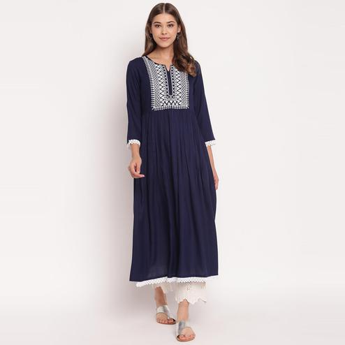 Lovely Navy Blue Colored Party Wear Embroidered Calf Length Gathered Rayon Kurti