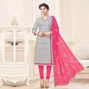 Gray-Pink Embroidered Partywear Cotton Salwar Suit