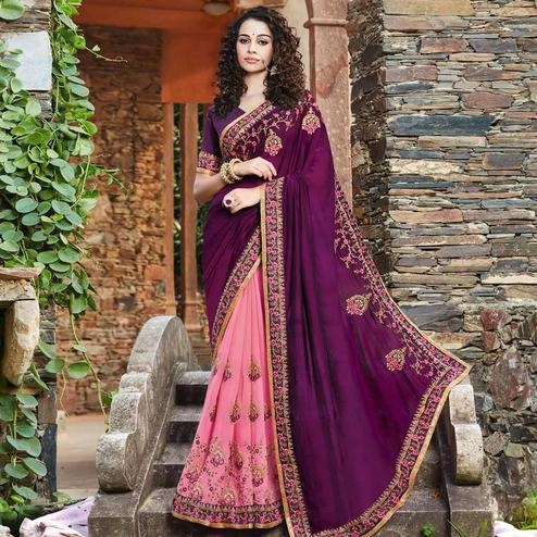 Radiant Pink-Purple Colored Party Wear Floral Embroidered Vichitra Art Silk Half & Half Saree
