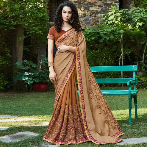 Pleasant Brown Colored Party Wear Floral Embroidered Vichitra Art Silk Half & Half Saree