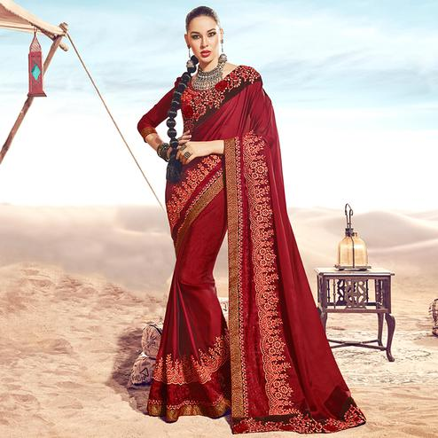 Marvellous Maroon Colored Party Wear Embroidered Satin-Georgette Saree