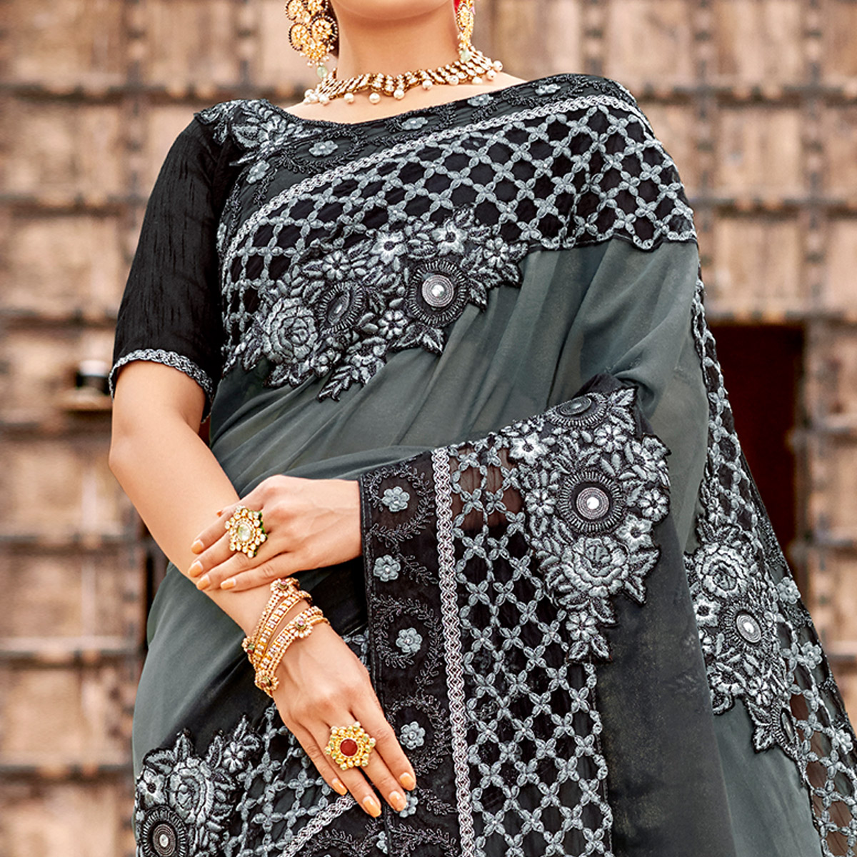 Amazing Grey Colored Party Wear Embroidered Satin-Georegtte Saree