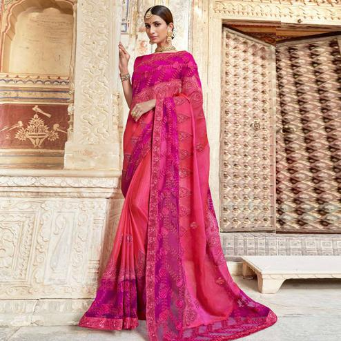 Prominent Pink Colored Party Wear Embroidered Vichitra Art Silk Saree