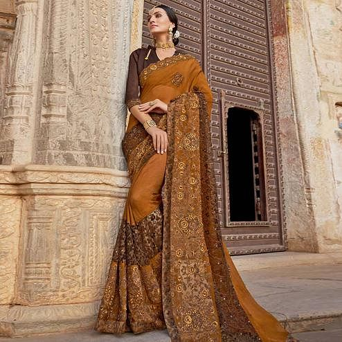 Groovy Brown Colored Party Wear Embroidered Vichitra Art Silk Saree