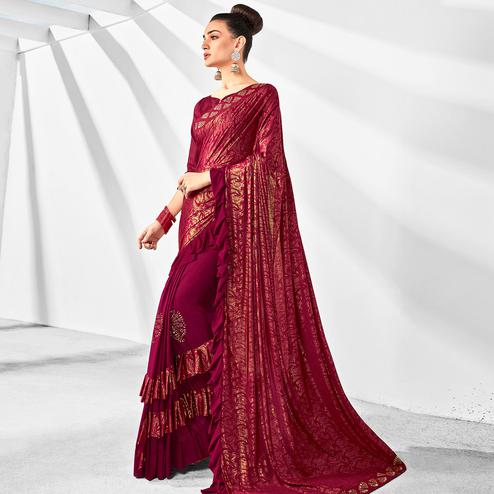 Attractive Maroon Colored Party Wear Embroidered Ruffled Art Silk Half & Half Saree