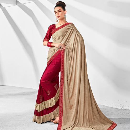 Graceful Red-Beige Colored Party Wear Embroidered Ruffled Art Silk Half & Half Saree