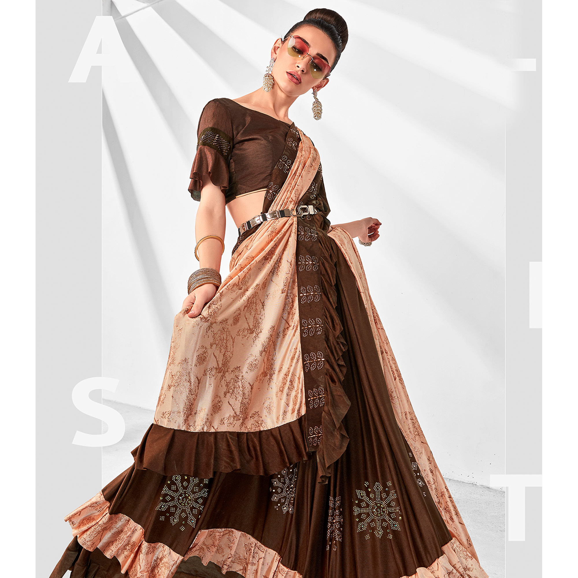 Charming Brown-Peach Colored Party Wear Embroidered Ruffled Art Silk Half & Half Saree