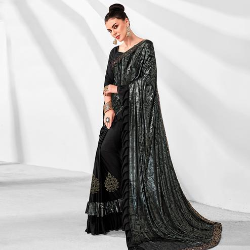 Jazzy Black Colored Party Wear Embroidered Ruffled Art Silk Half & Half Saree