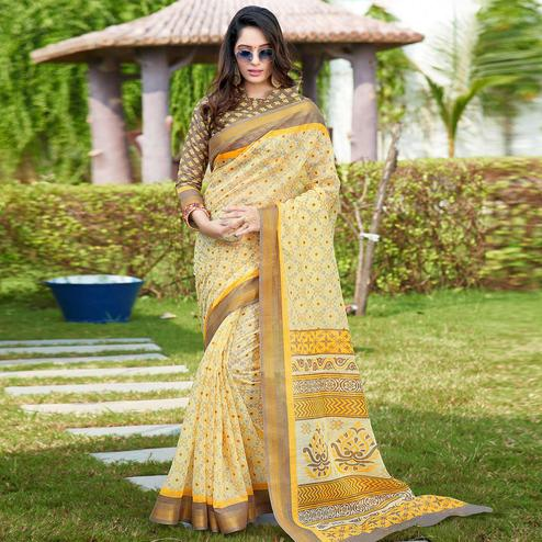 Intricate Yellow Colored Casual Wear Printed Cotton Saree