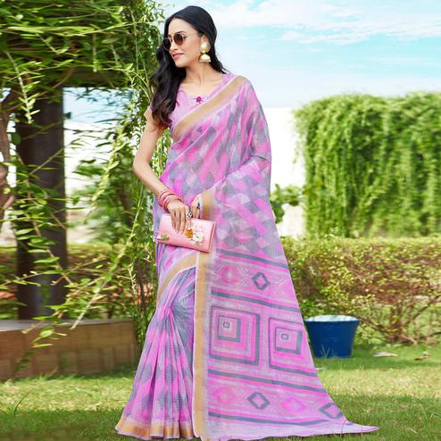 Arresting Pink Colored Casual Wear Printed Cotton Saree