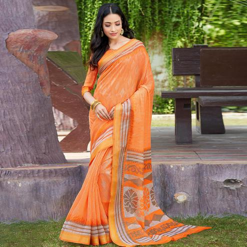 Desirable Orange Colored Casual Wear Printed Cotton Saree