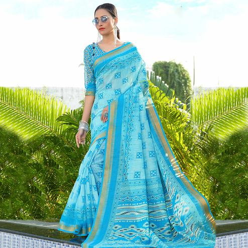 Exotic Blue Colored Casual Wear Printed Cotton Saree