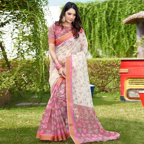 Trendy Pink-Cream Colored Casual Wear Printed Cotton Saree
