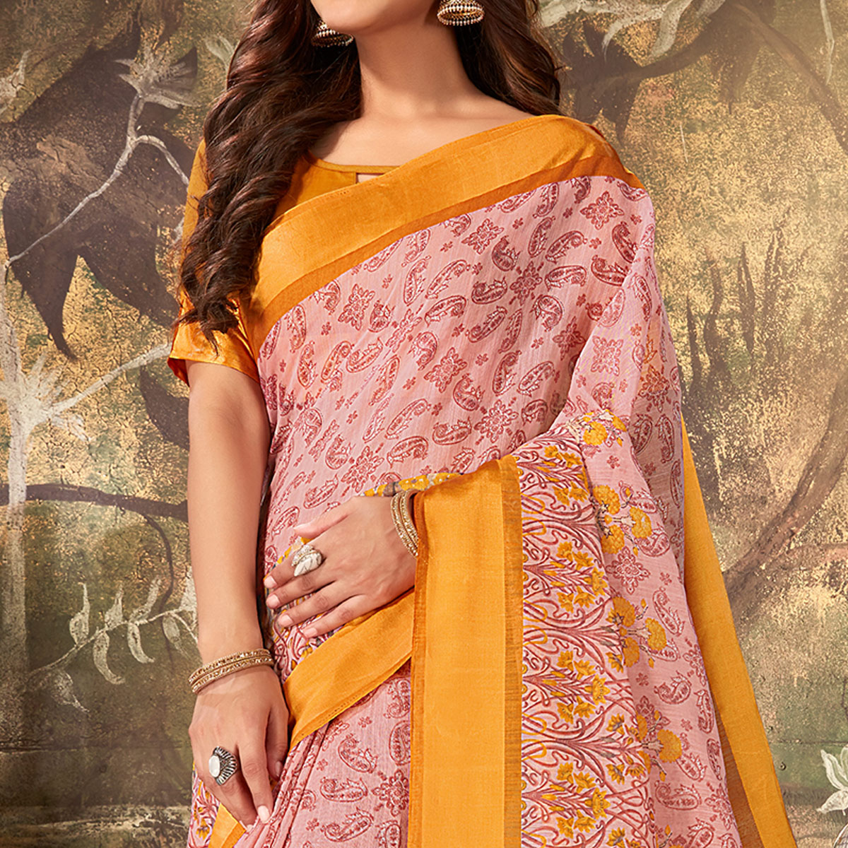 Classy Pink Colored Casual Wear Printed Cotton Saree