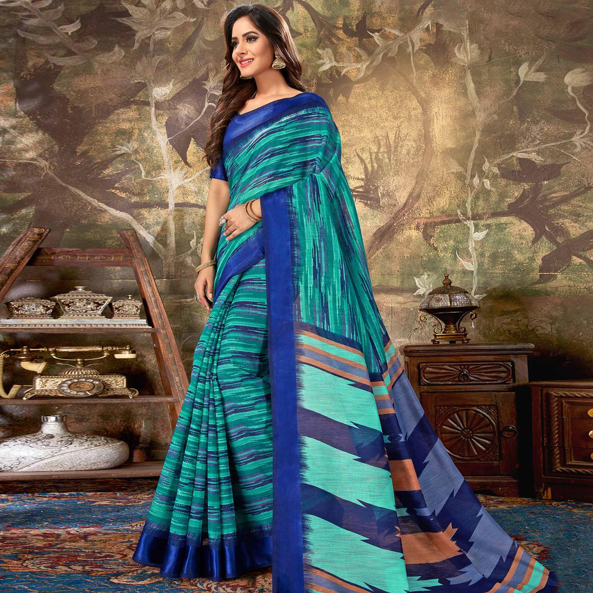Prominent Green Colored Casual Wear Printed Cotton Saree