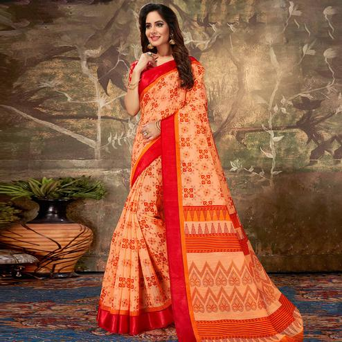Appealing Orange Colored Casual Wear Printed Cotton Saree