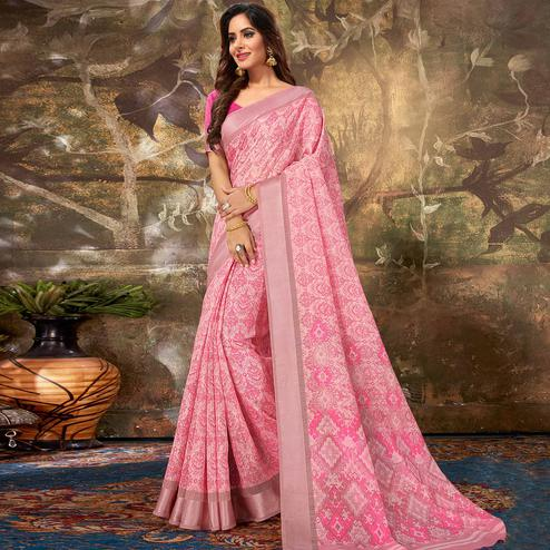 Exclusive Pink Colored Casual Wear Printed Cotton Saree