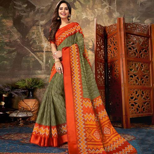 Radiant Olive Green Colored Casual Wear Geometric Printed Cotton Saree