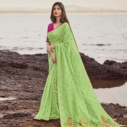Blooming Green Colored Festive Wear Woven Cotton Jacquard Saree