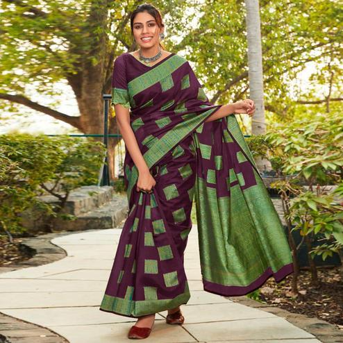 Charming Dark Purple Colored Festive Wear Woven Cotton Jacquard Saree