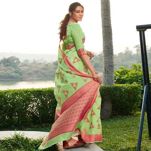 Jazzy Pista Green Colored Festive Wear Woven Cotton Jacquard Saree