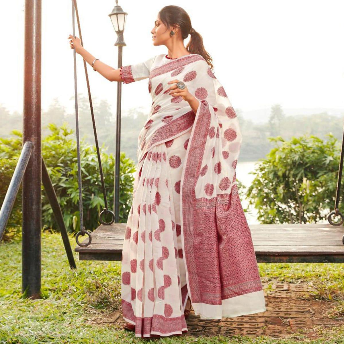 Engrossing White Colored Festive Wear Woven Cotton Jacquard Saree