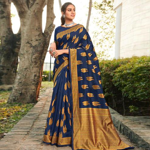 Captivating Navy Blue Colored Festive Wear Woven Cotton Jacquard Saree
