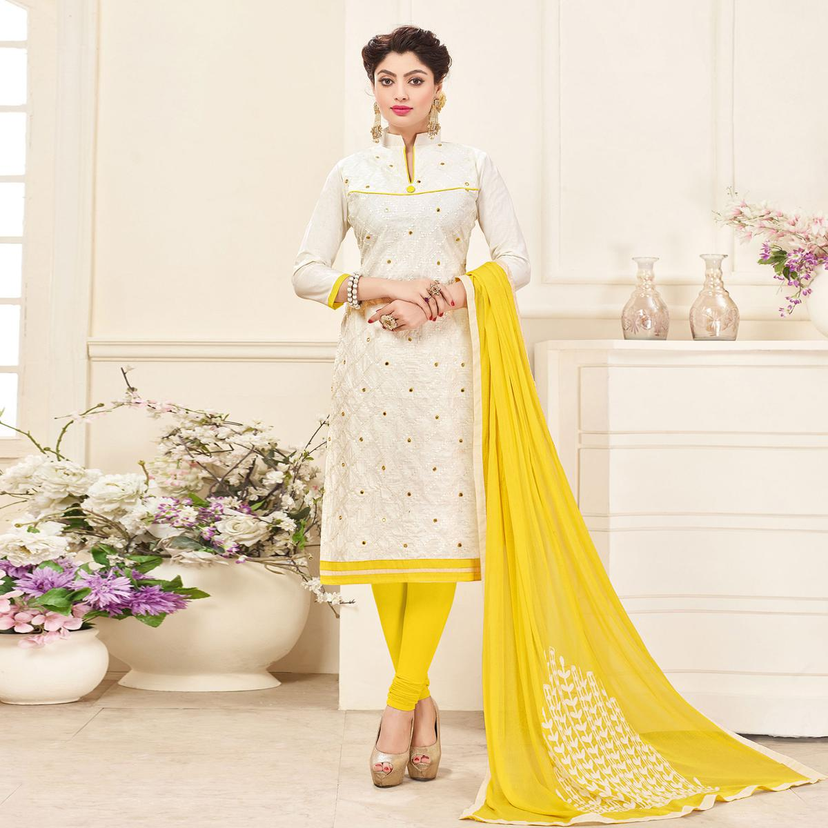 White-Yellow Embroidered Partywear Cotton Salwar Suit