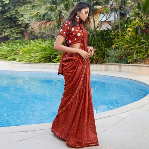 Ideal Rust Colored Partywear Printed Cotton Saree