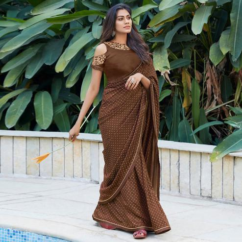 Imposing Brown Colored Partywear Printed Cotton Saree
