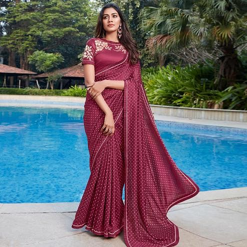 Lovely Wine Colored Partywear Printed Cotton Saree