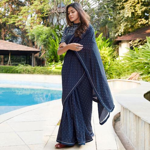 Majesty Navy Blue Colored Partywear Printed Cotton Saree