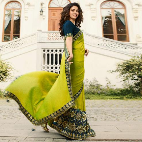Breathtaking Olive Green Colored Partywear Solid Vichitra Silk Saree