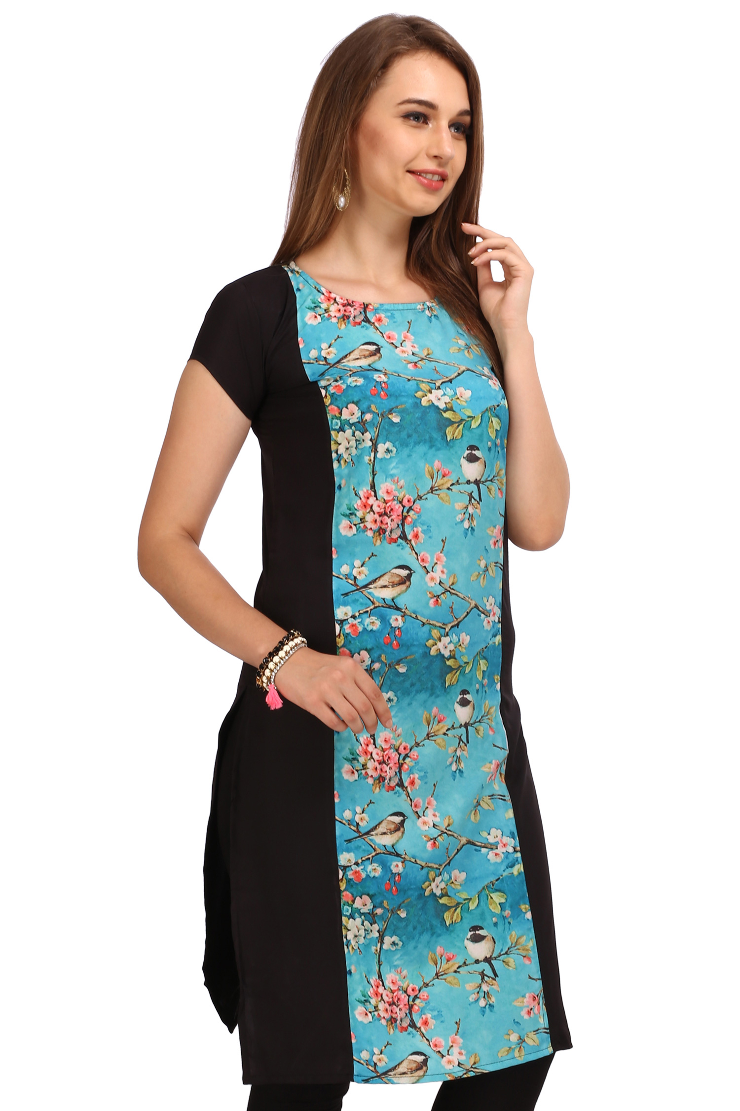 Black - Blue Digital Printed Kurti