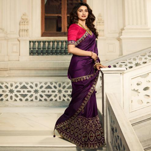 Staring Wine Colored Partywear Solid Vichitra Silk Saree