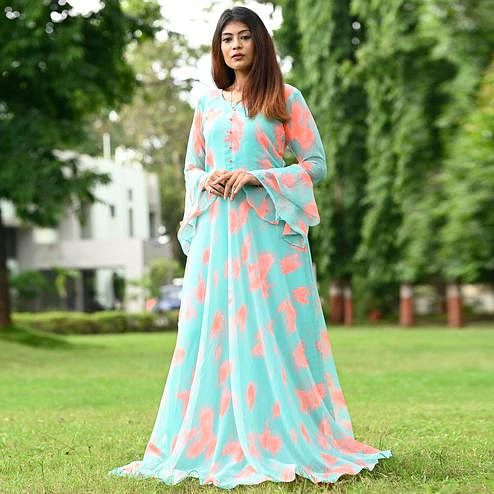 Majesty Sky Blue Colored Partywear Printed Georgette Gown