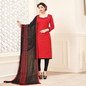 Red-Black Embroidered Partywear Cotton Salwar Suit