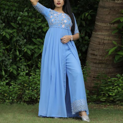 Breathtaking Blue Colored Partywear Embroidered Georgette Top-Bottom Set