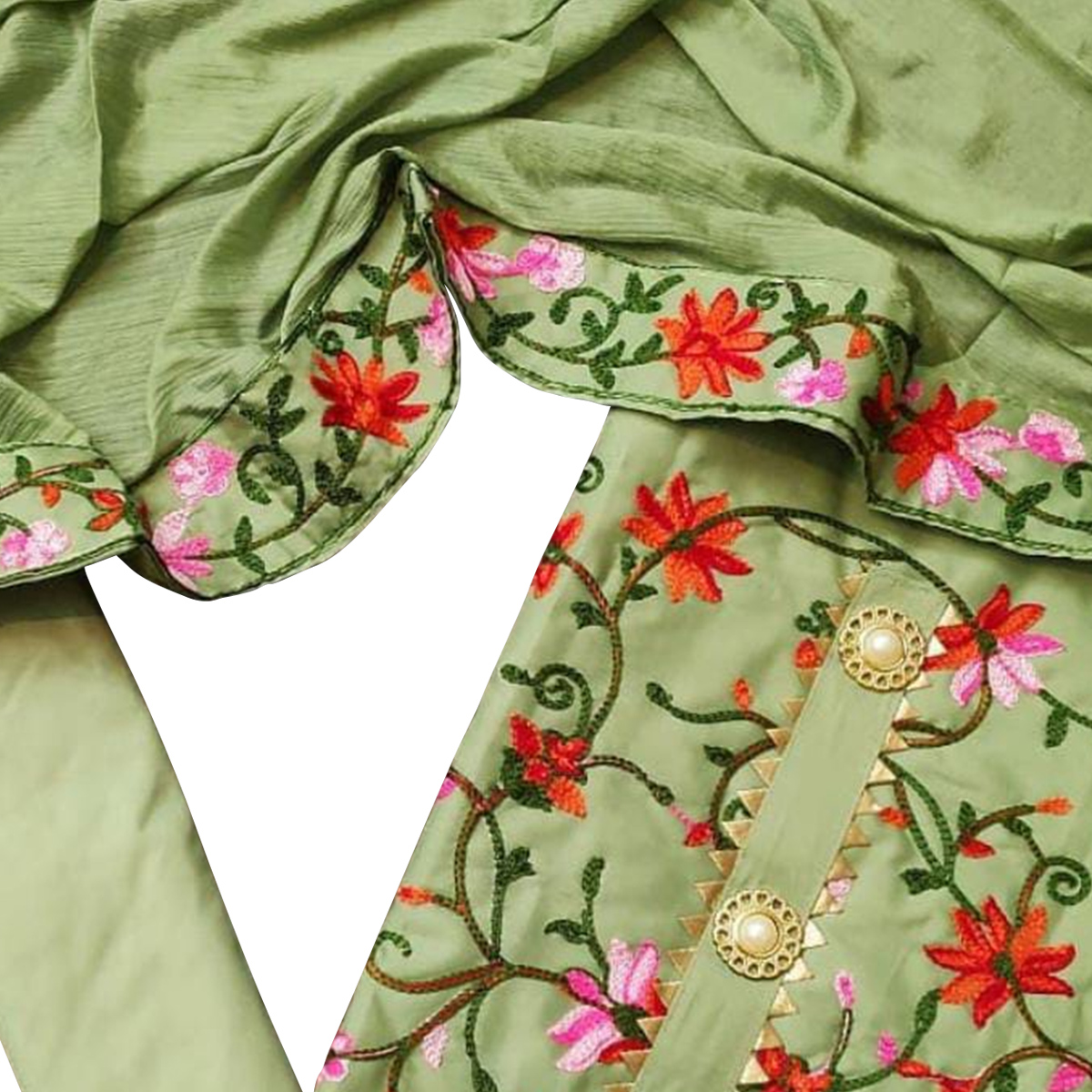 Adorable Green Colored Partywear Embroidered Chanderi Cotton Dress Material