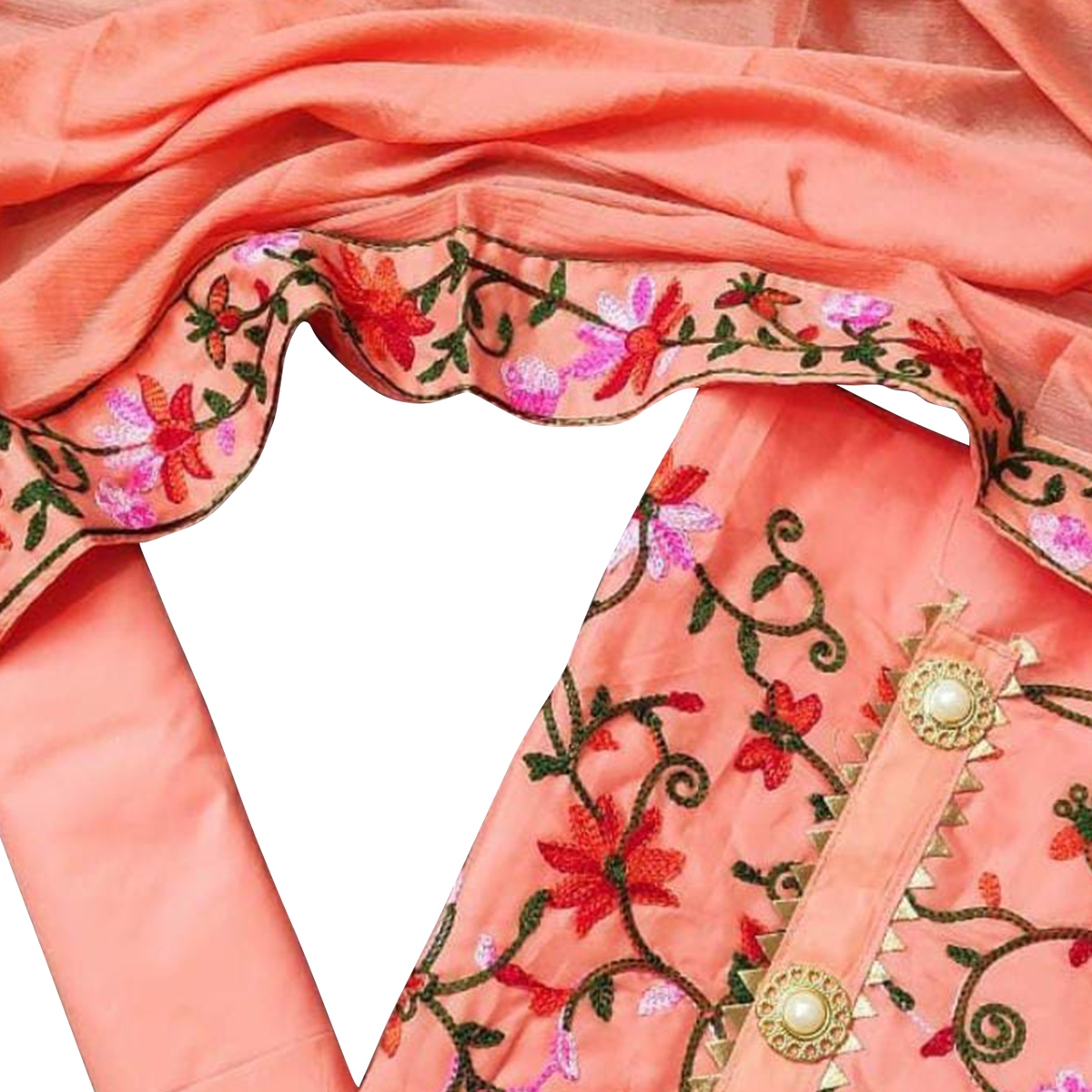 Glorious Peach Colored Partywear Embroidered Chanderi Cotton Dress Material
