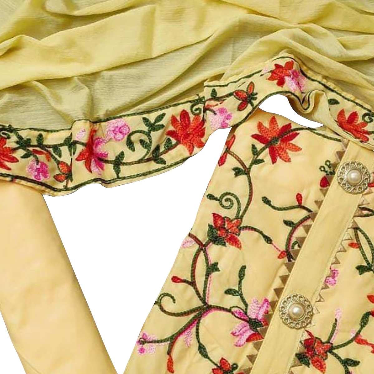 Attractive Yellow Colored Partywear Embroidered Chanderi Cotton Dress Material